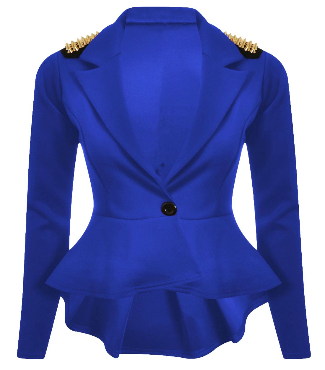 New Ladies Skater Peplum Frill Studs Blazer Slim Fit Shift Jackets 8-24