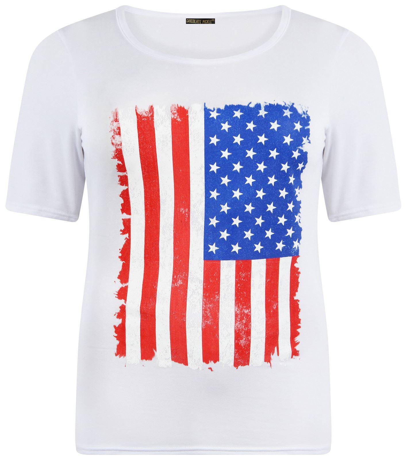 New Womens Plus American Flag Print Stretch T Shirt Tops
