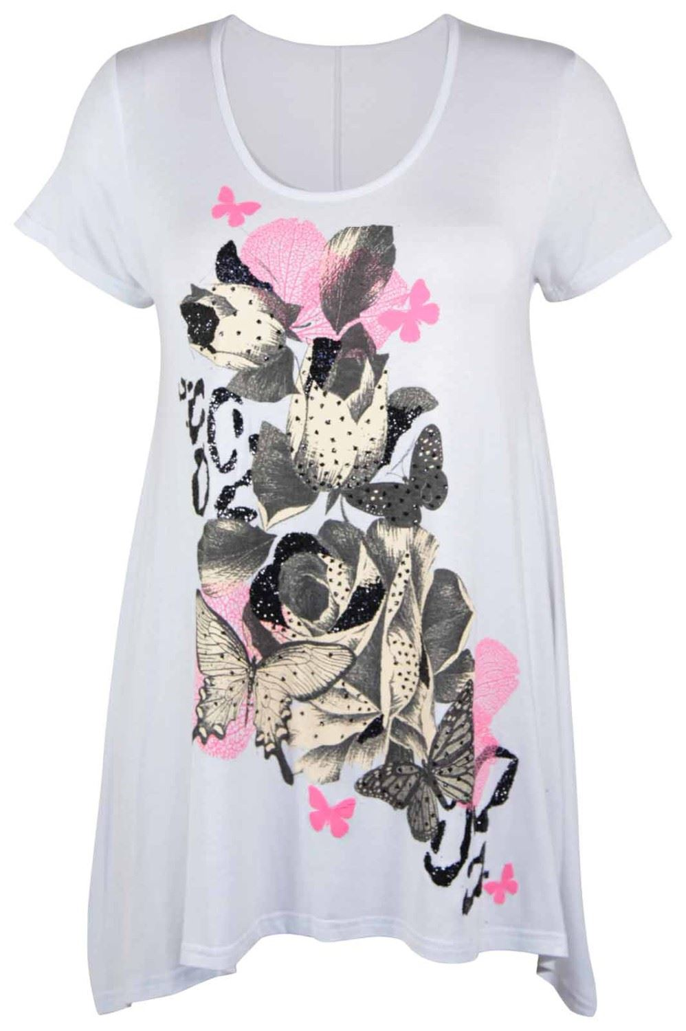 Womens Plus Size Butterfly Sequin Floral Print Cap Sleeve Ladies Long Top TShirt