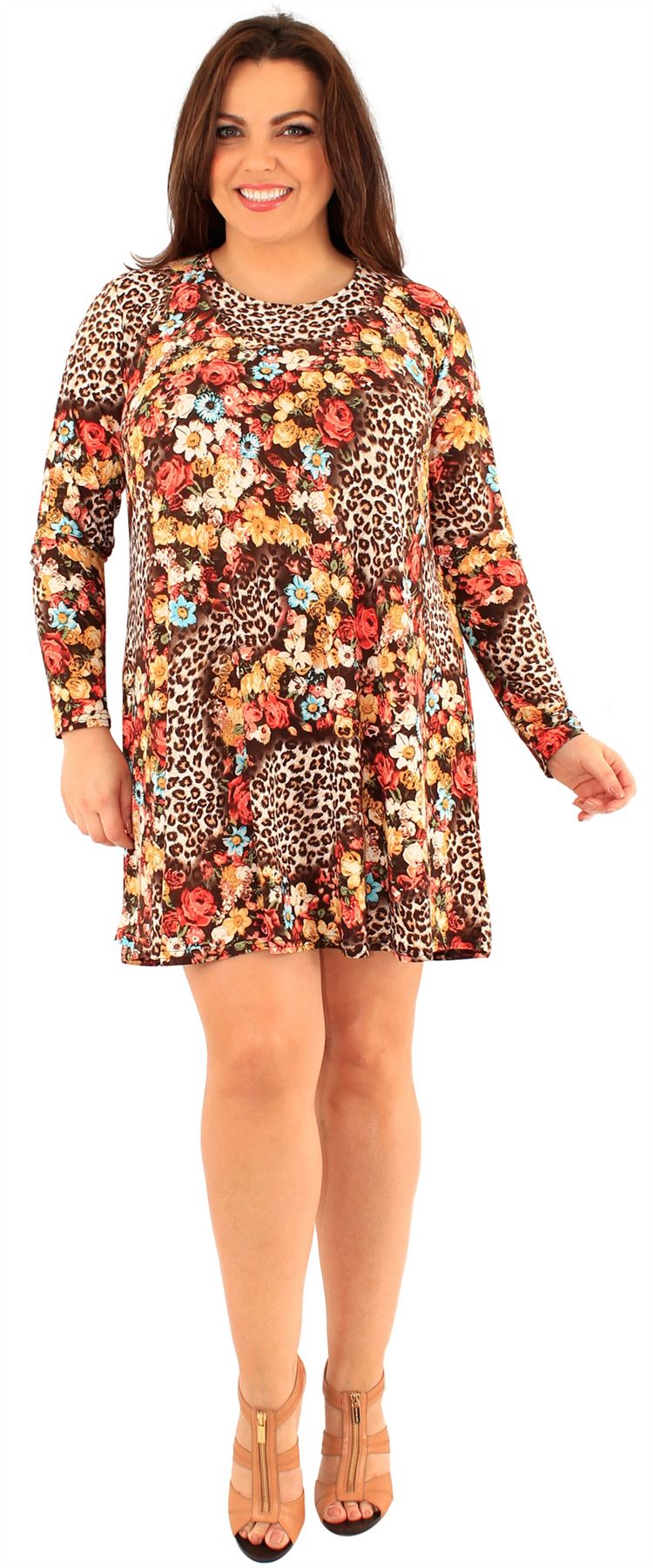 Ladies Curve Summer Floral Blossom Prints Soft Fabric Long