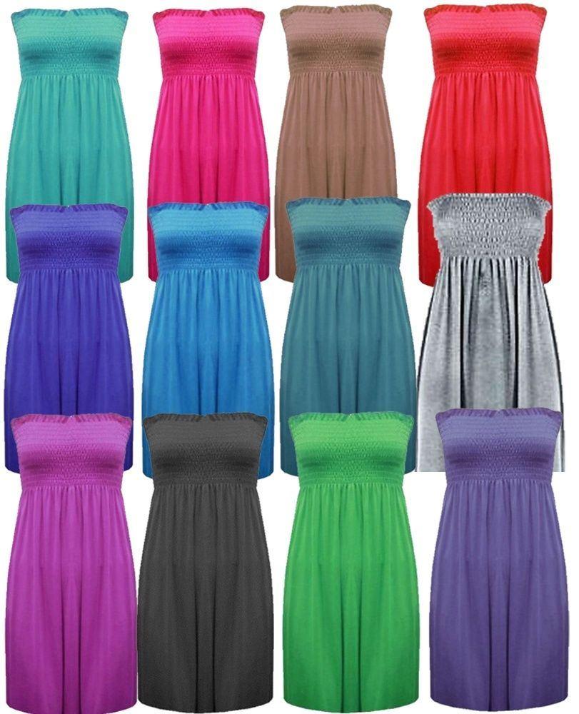 a8b19f27c2c New Ladies Bandeau Boob Gathering Tops Boob Tube Beach Wear Tunics 8 ...