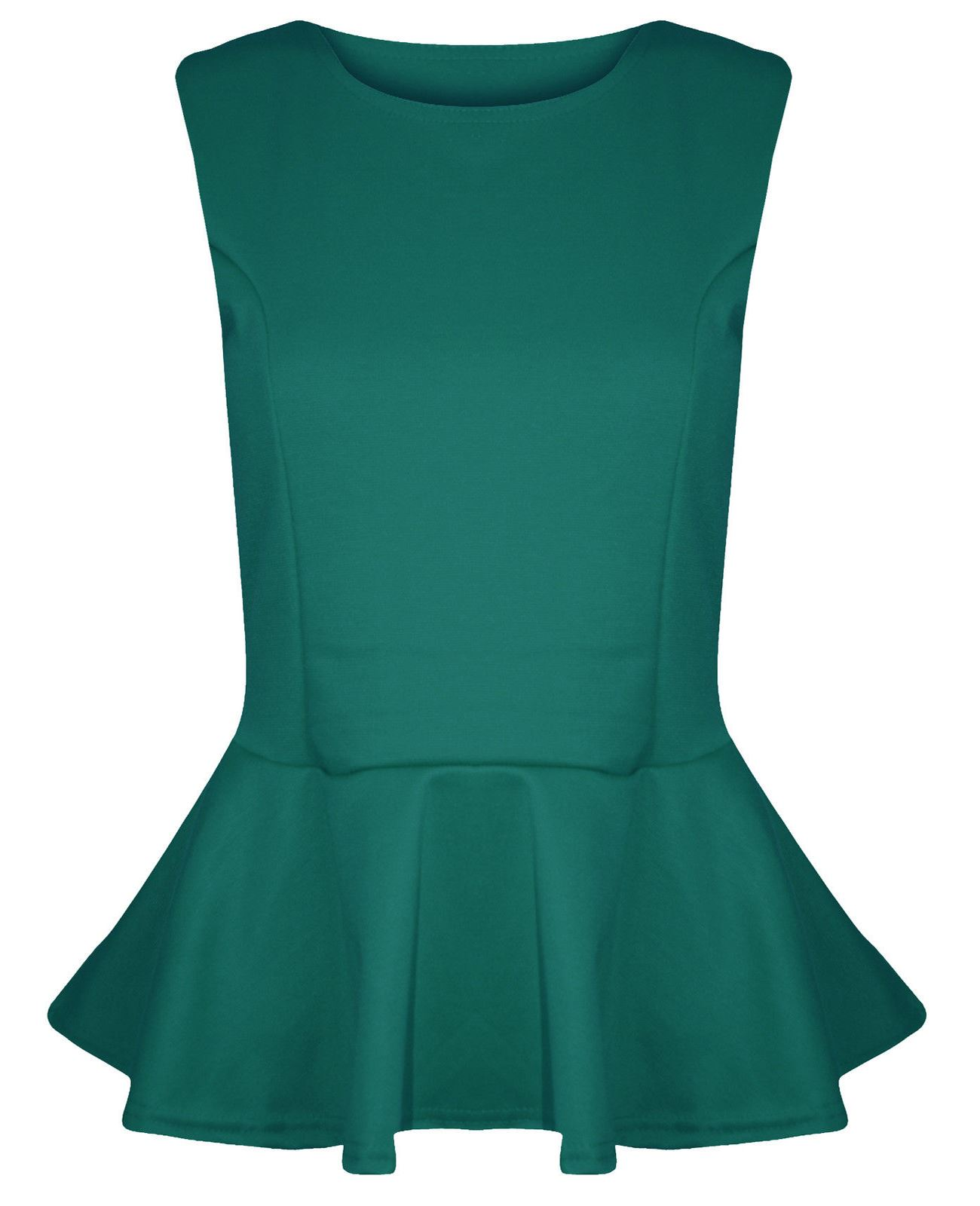 New-Ladies-Plus-Size-Peplum-Frill-Fitted-Sleeveless-Skater-Tops-16-26