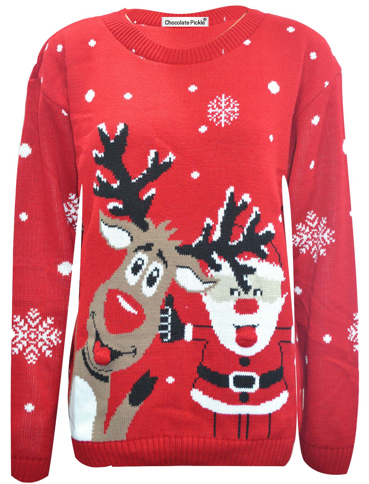 Get in the holiday spirit with this adorable Christmas jumper! The cute Rudolph design is finished with a 3D pom pom nose, helping you feel fun and festive in an instant. Perfect for Christmas Jumper .