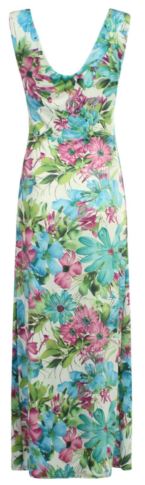 Womens Plus Size Contrast Knot Panel Summer Floral Print Grecian Maxi Dress 8-26