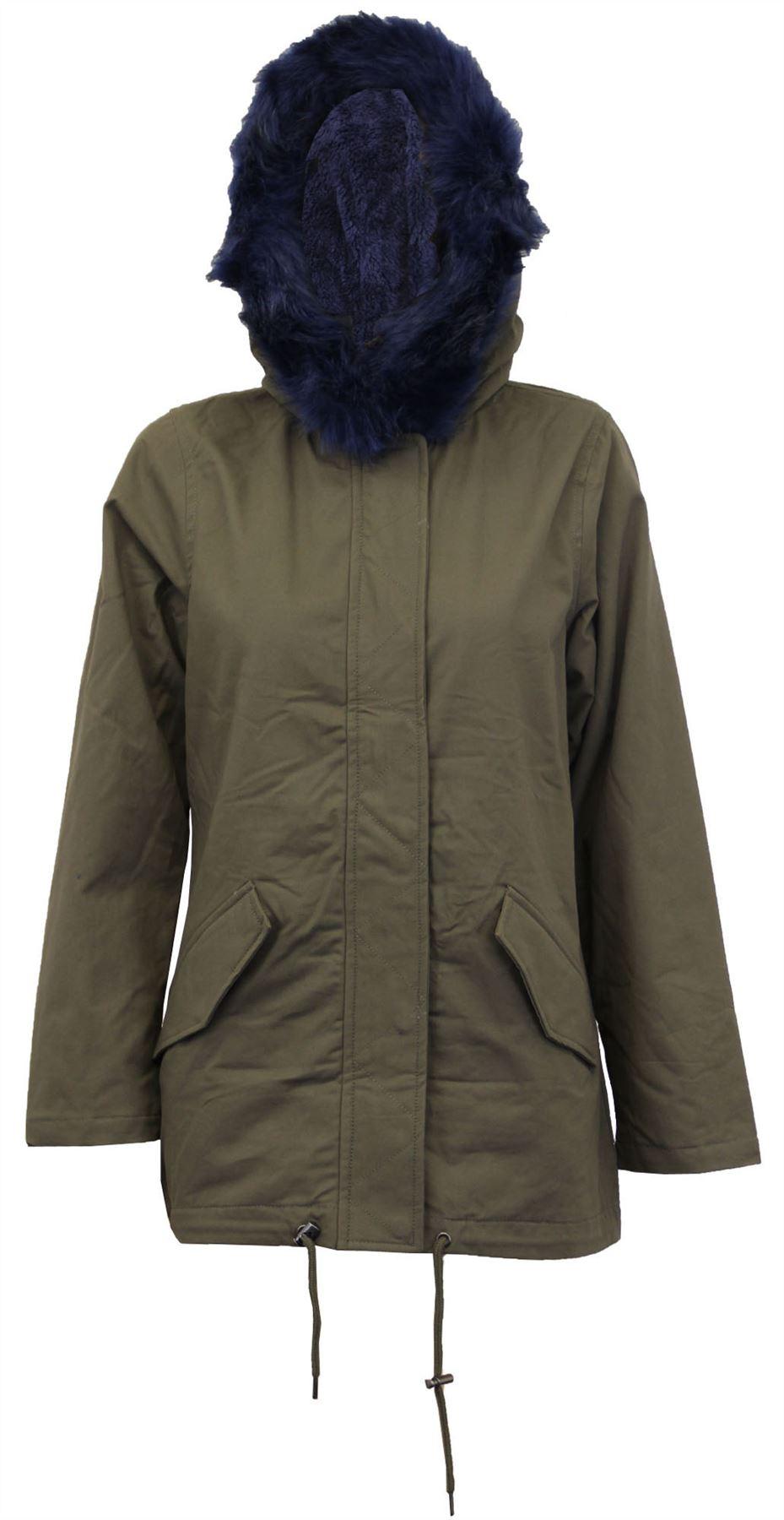 New Ladies Fur Sherpa Hooded Parka Coat Fleece Lined