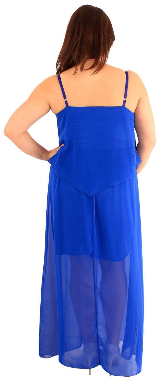 New Womens Plus Size Two Layered Chiffon Strappy Long Lined Maxi Dress 18-24