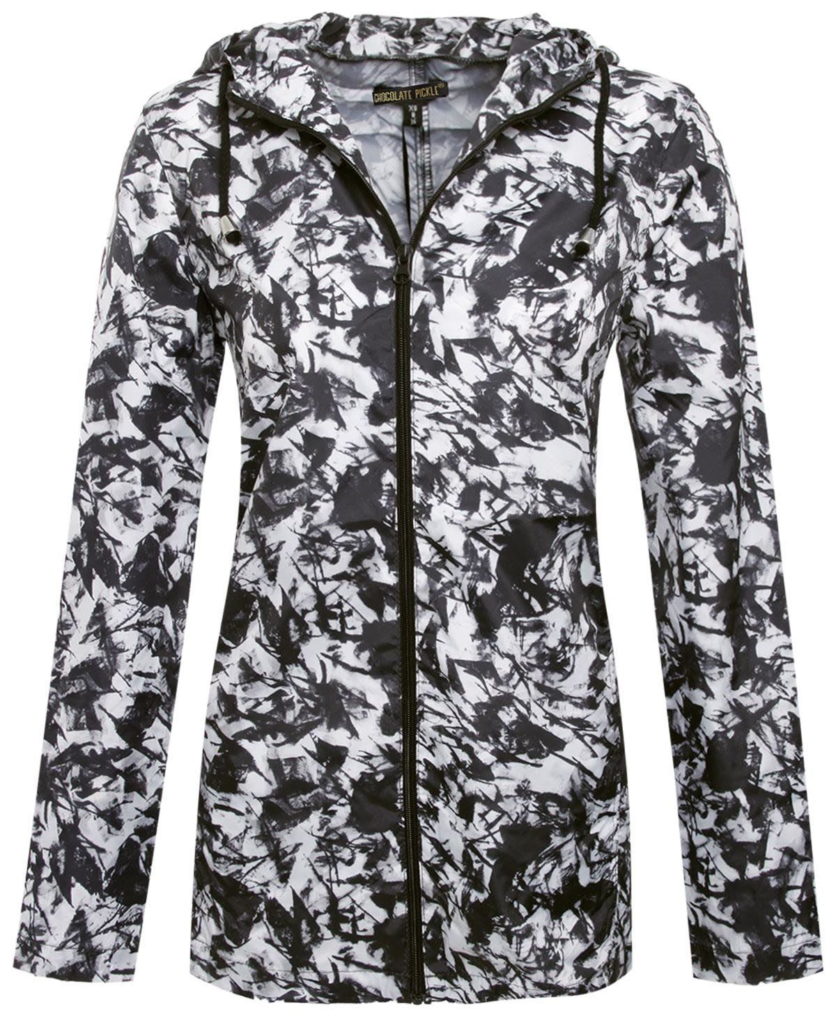 New Womens Tie Dye Splash Zip Mac Raincoat Polyester Parka Hooded Jacket 14-20 | eBay