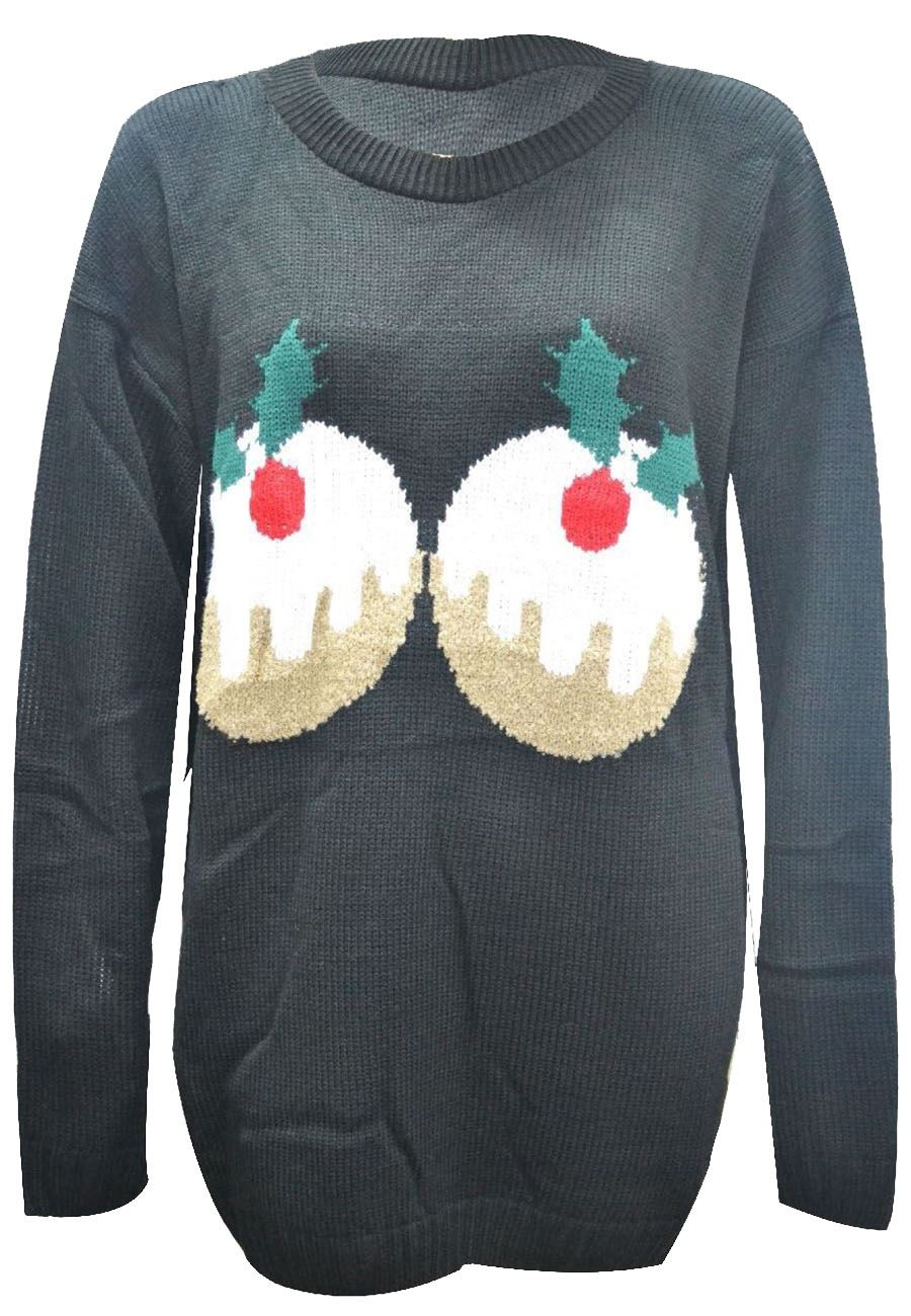 Womens Plus Size Christmas Pudding Long Sleeve Novelty Knitted ...