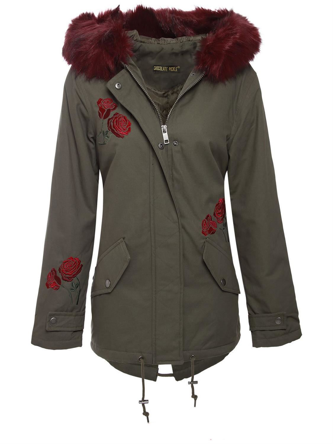 New ladies Fur Sherpa Hooded Parka Coat Fleece Lined ...