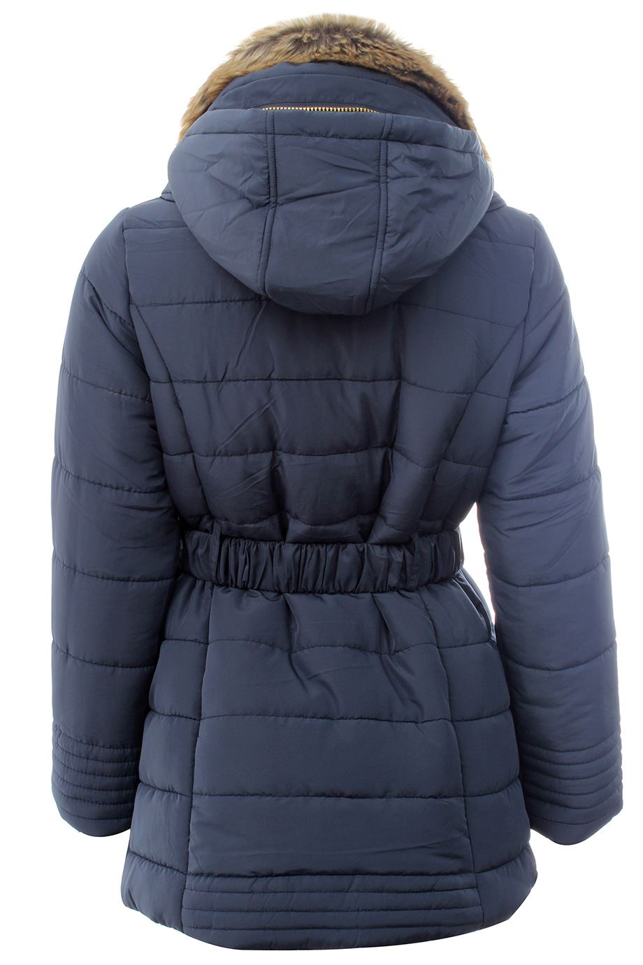 Details About New Ladies Plus Size Padded Quilted Belted Winter Coats Fur Neck Hooded Jackets