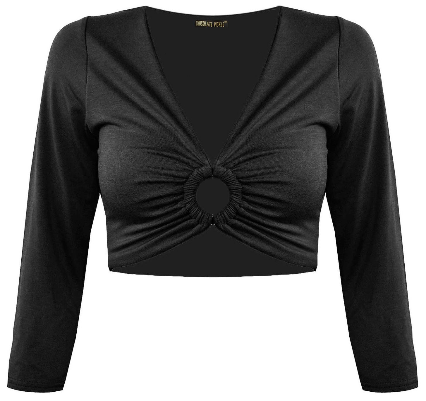 New Ladies Full Sleeve Rouched Buckle Front Ring Top Bolero Shrug Tops 8-22