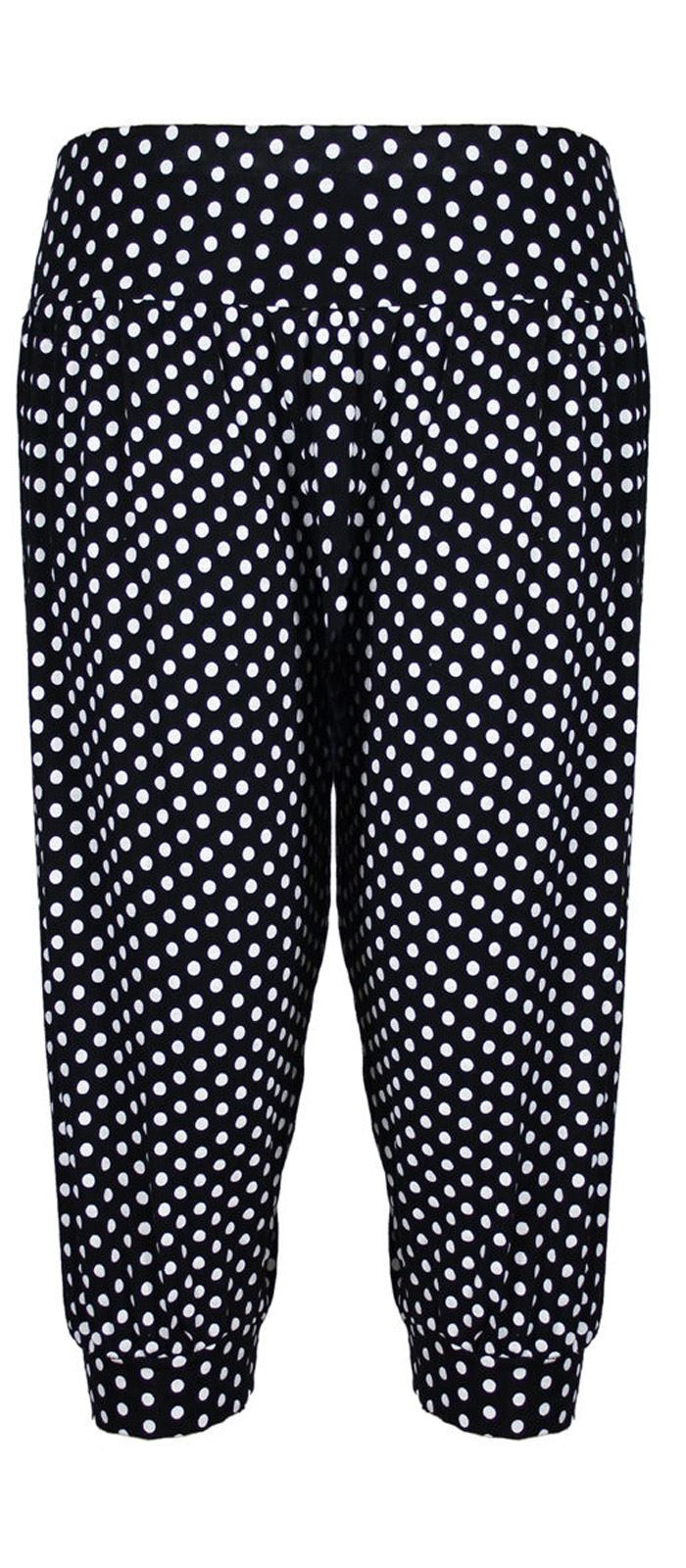 new womens plus size polka dot printed leggings harems. Black Bedroom Furniture Sets. Home Design Ideas