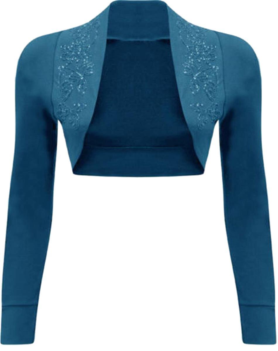 New Womens Plus Size Short Sleeve Purple Sequin Beaded Bolero Shrug Tops 8-26