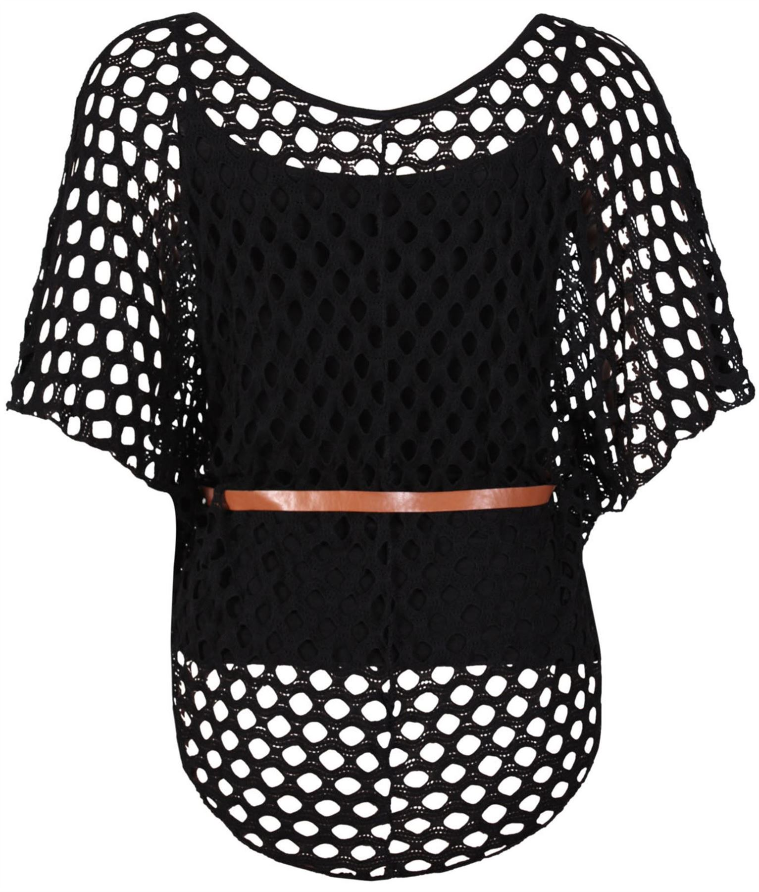 New Ladies Plus Size Tie Belted Crochet Batwing Tops Mesh Jumper
