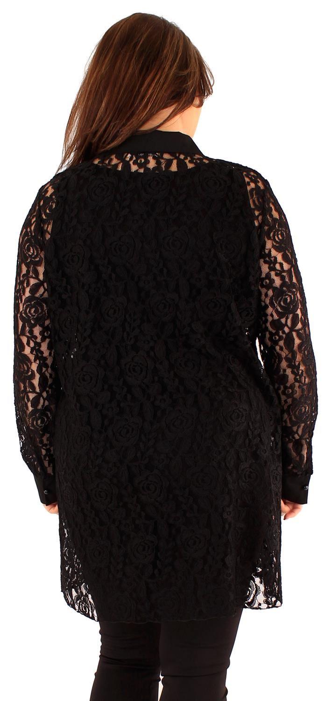 NUOVA linea donna curva piena manica collo collo collo a camicia con colletto in pizzo 18-24 3574ba