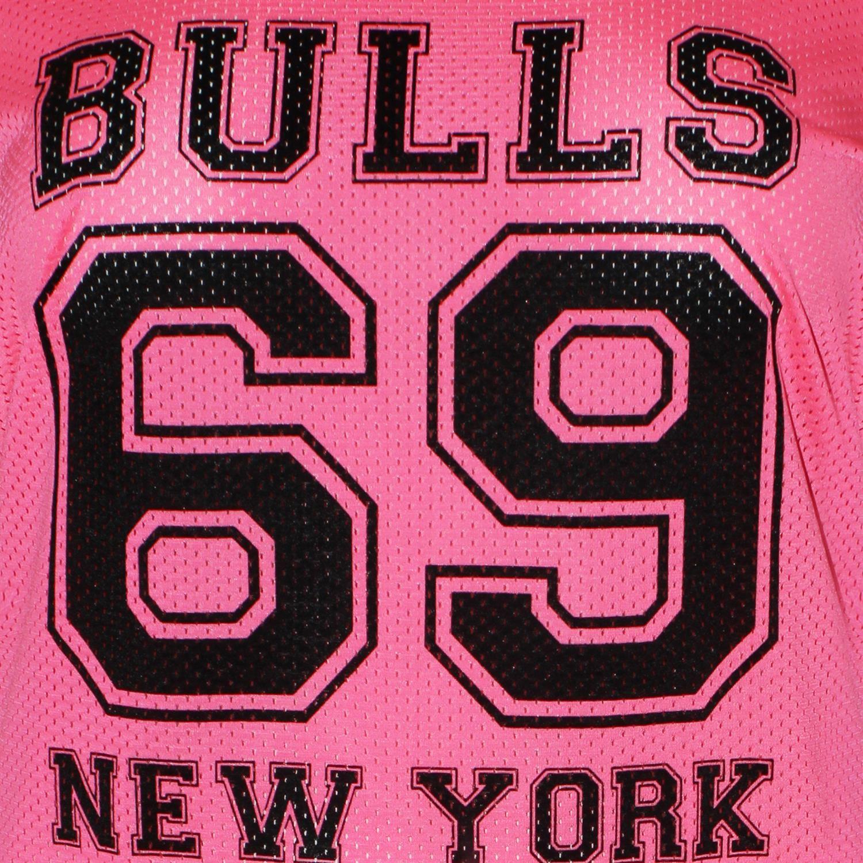 Ladies Neon Color Air Tech Summer Stripe Bulls 69 Number Print Baseball T-Shirts