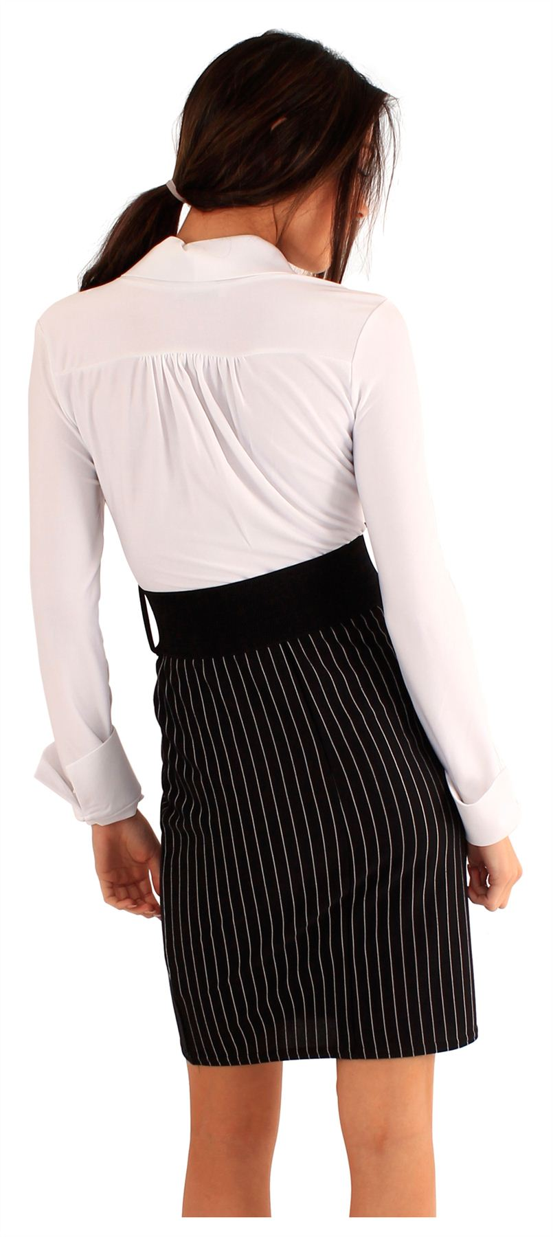 New-Ladies-Collared-Full-Sleeve-Shirt-Belted-Pencil-Skirt-2-In-1-Dress-8-14