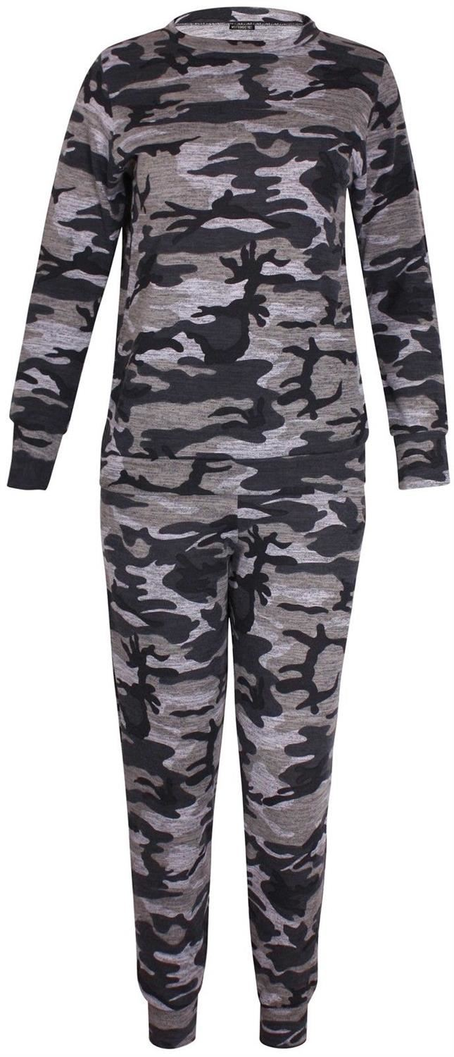 New-Womens-Plus-Size-Army-Sweatshirt-Top-Jogging-Bottom-Tracksuit-Set-16-28 thumbnail 6