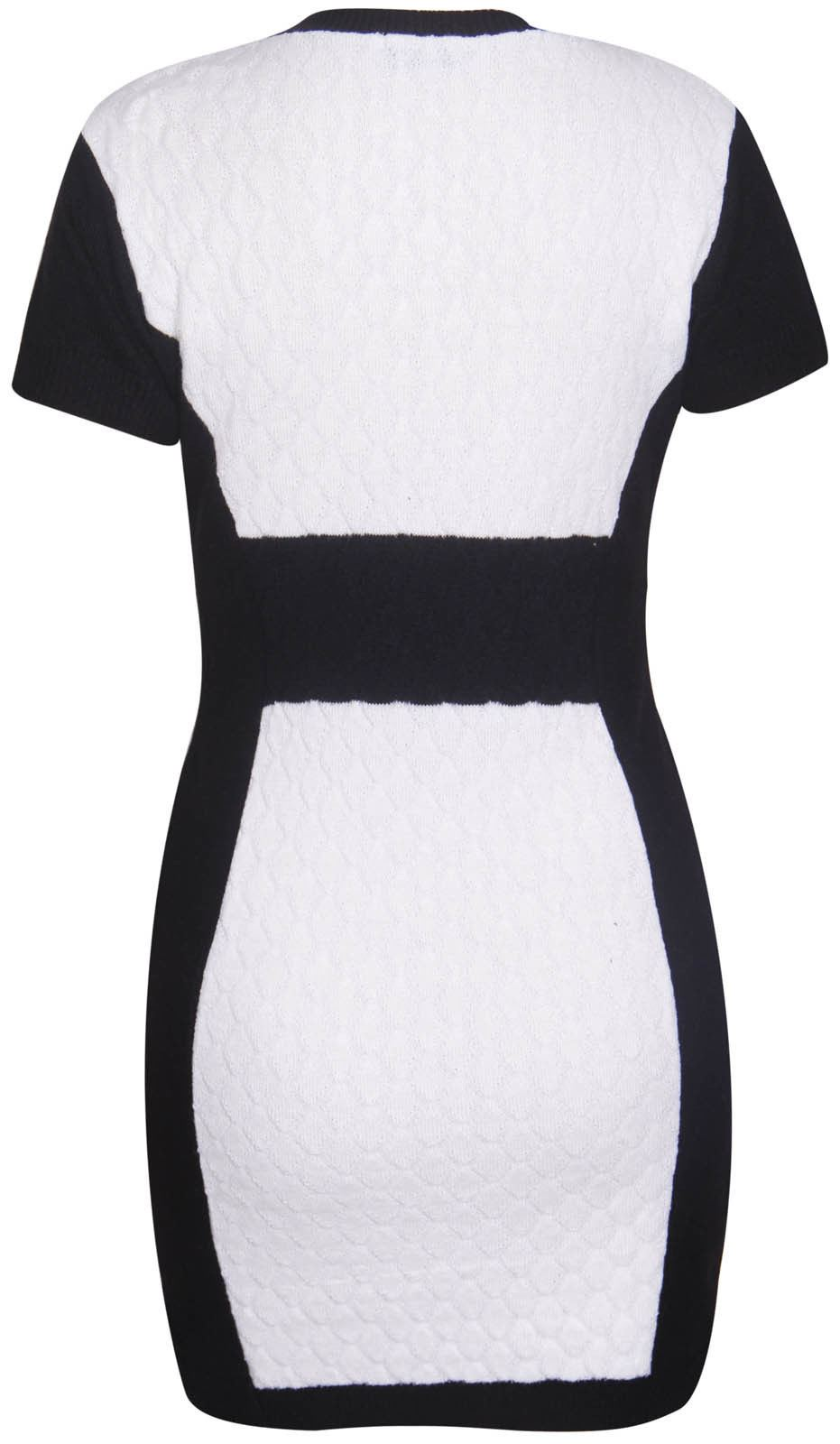 New-Womens-Plus-Size-Contrast-Panel-Diamond-Knit-Jumper-Dress-16-26