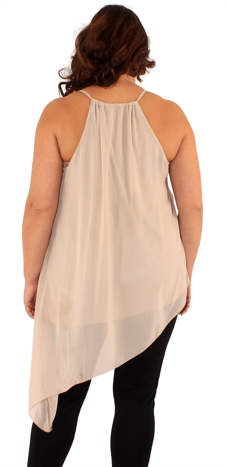 New Ladies Asymmetric Plunge  V-Neck  Woven Chiffon Lined Jersey Tops 16-26