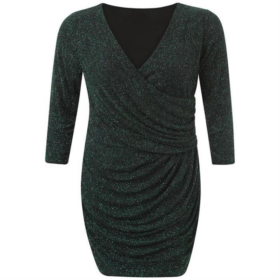 neue damen plus gr e sparkle wrap ausgehen damen drapieren kleid ebay. Black Bedroom Furniture Sets. Home Design Ideas