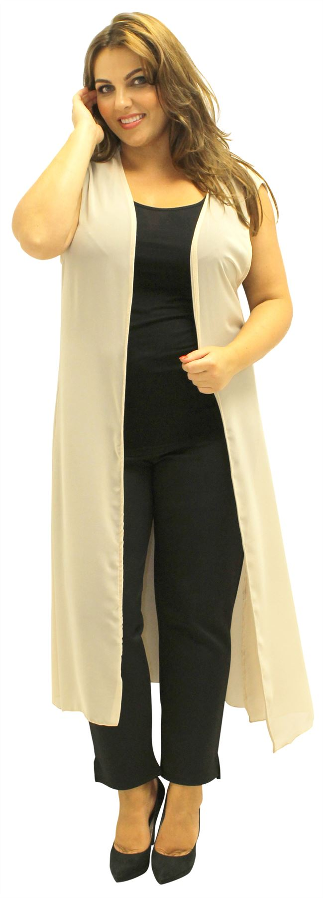 New Ladies Plus Size Curve Sleeveless Chiffon Maxi Waist ...