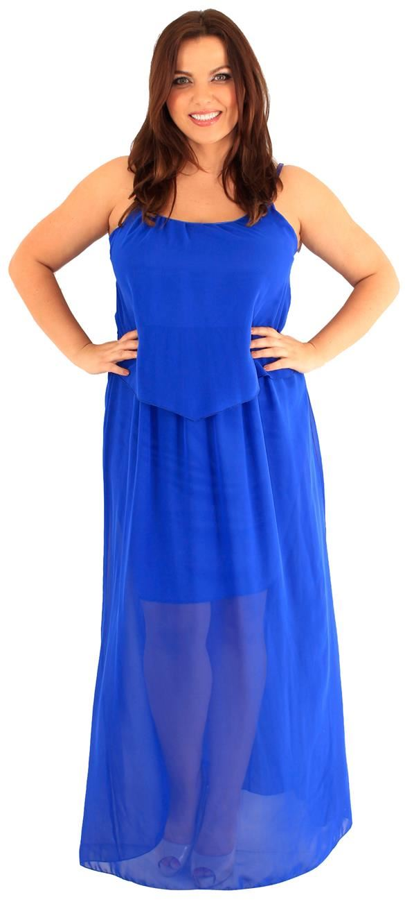 New Womens Plus Size Two Layered Chiffon Strappy Long Lined Maxi ...