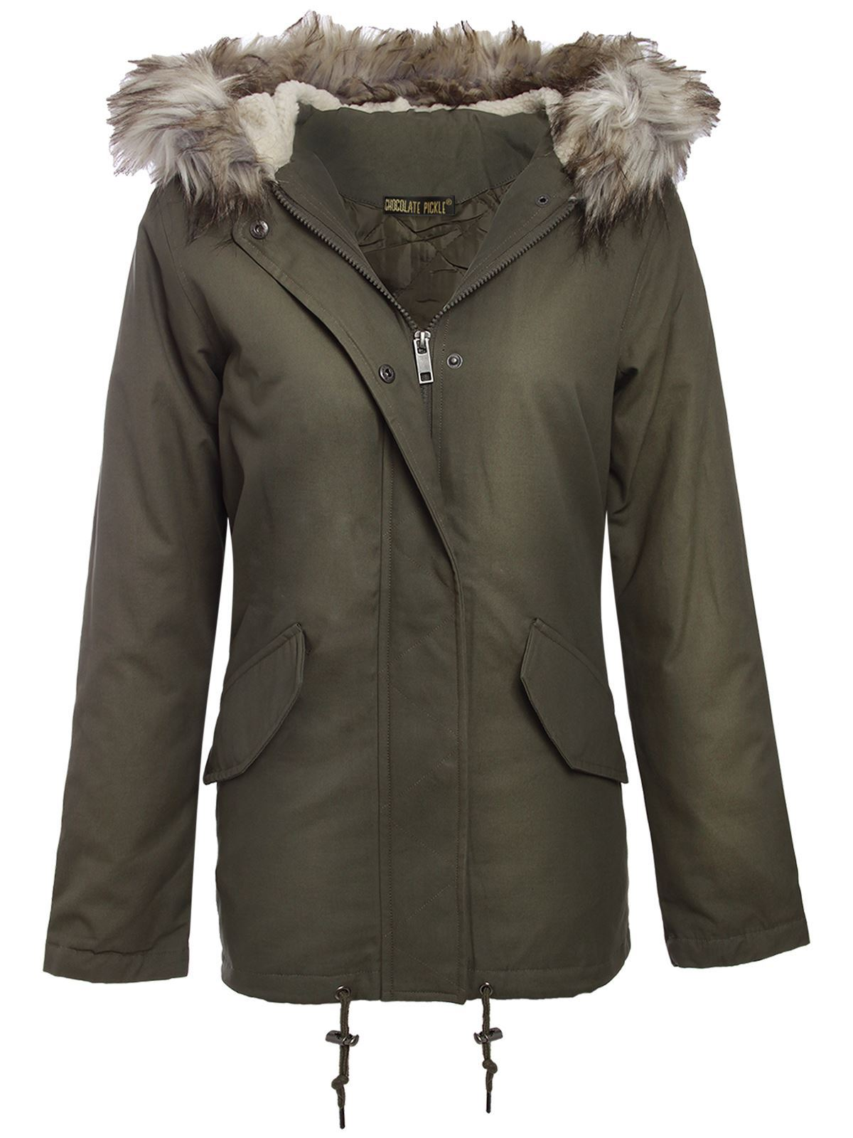 New Ladies Fur Hood Camouflage Sequin Detail Khaki Parka jackets ...