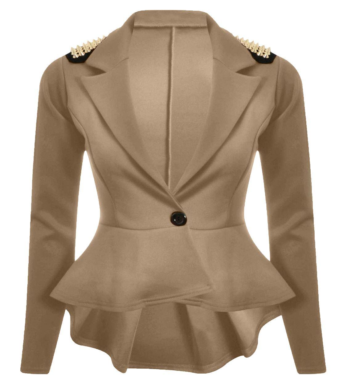 New Womens Spikes Studded Crop Peplum Frill Blazer Single Button ...
