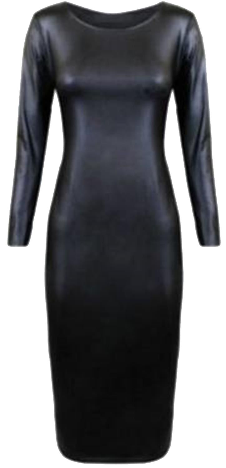New-Womens-Shinny-Wetlook-Plus-Size-Skater-Tops-Dress-16-26