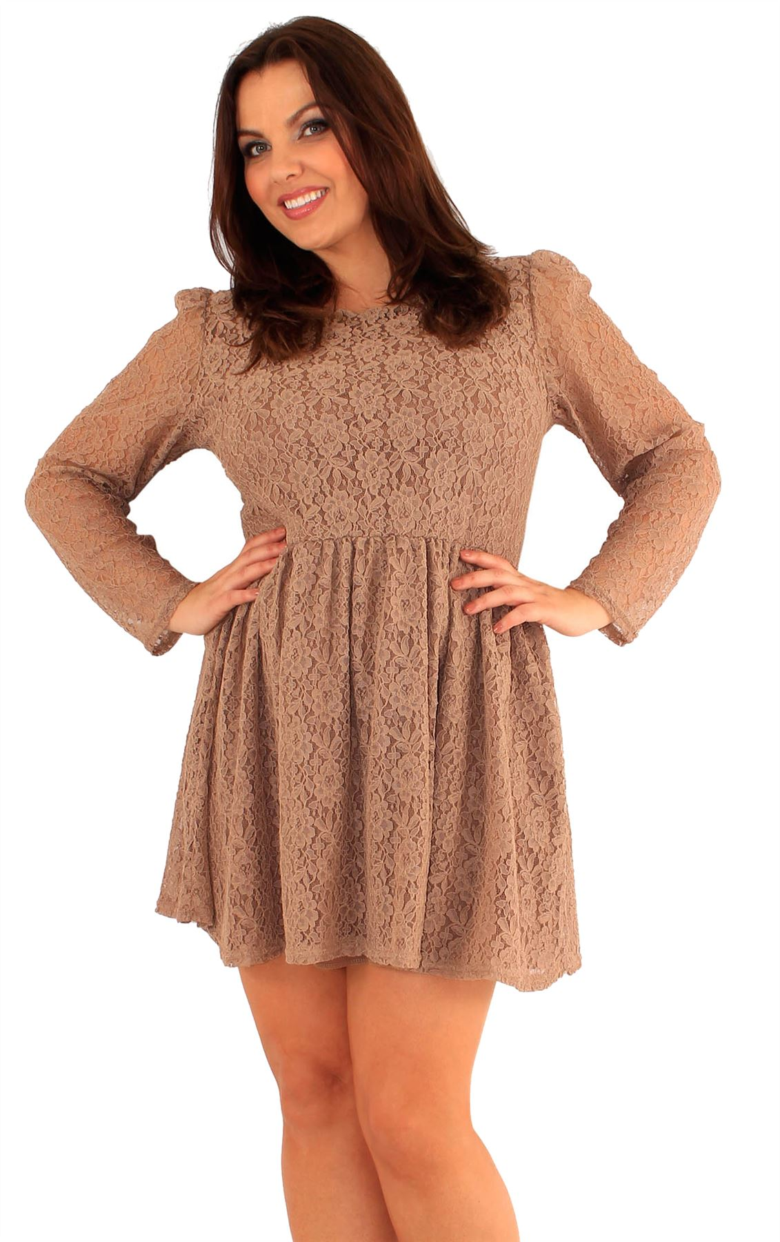 7b2929afb38f Details about New Ladies Plus Size Key Hole Back Lace Long Sleeve Evening  Skater Dress 18-24
