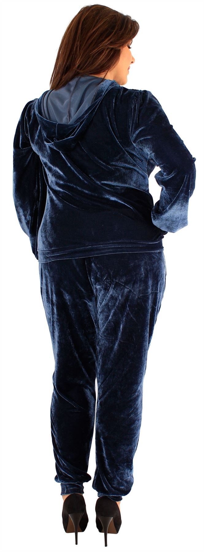 Womens Plus Size Hooded Velour Full Track Suits Track Top Joking Bottoms 16-26
