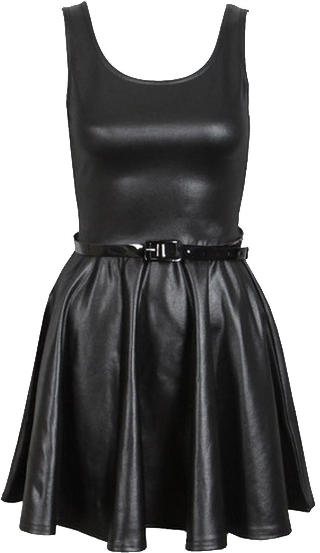 New Womens Plus Size Belted Wetlook Skater Sleeveless Dress 8-26