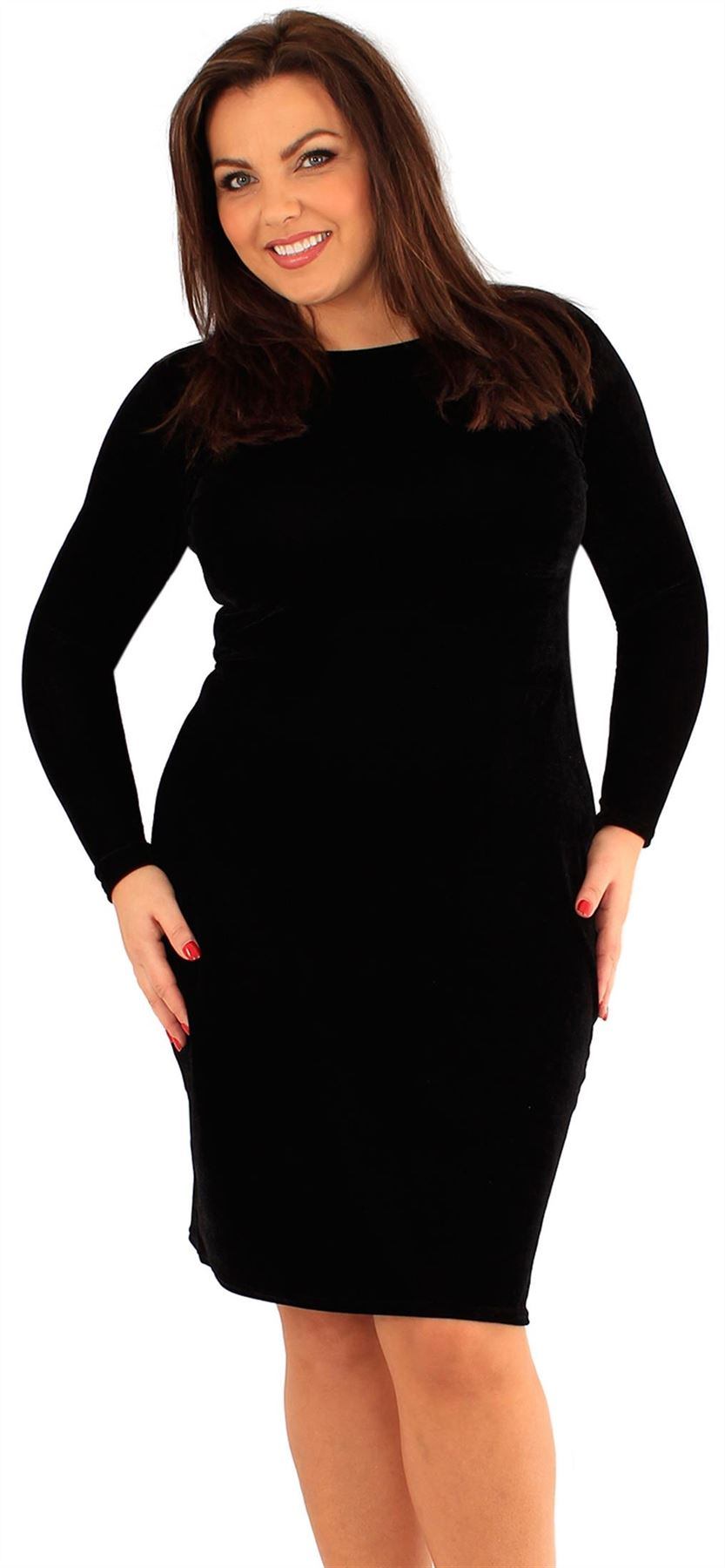 New Womens Plus Size Velvet Long Sleeve Bodycon Midi Dress 18 24 Ebay