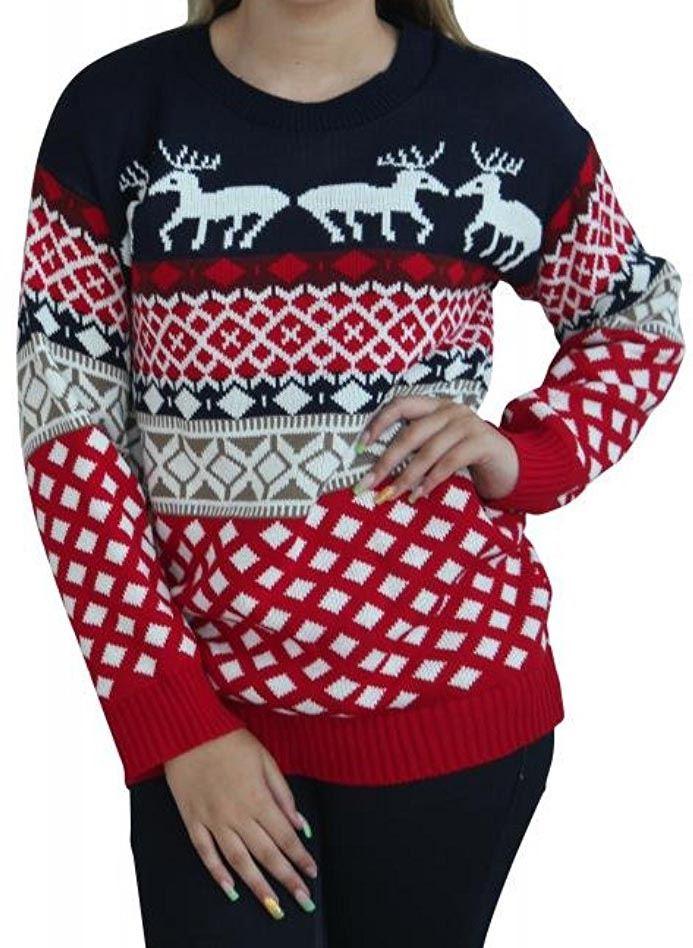 New-Womens-Aztec-Reindeer-Xmas-Knitwear-Christmas-Jumpers-