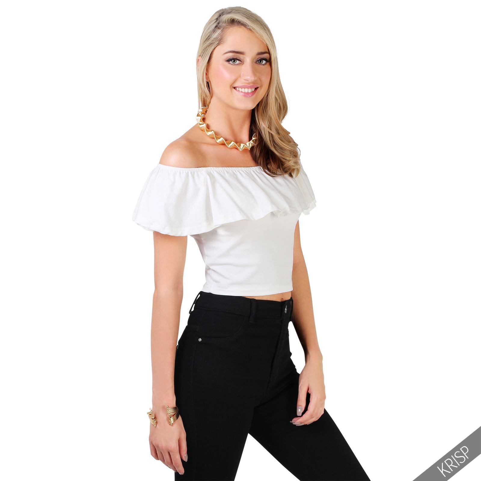 damen kurzes bandeau carmen top schulterfrei volant bluse stretchtop shirt ebay. Black Bedroom Furniture Sets. Home Design Ideas