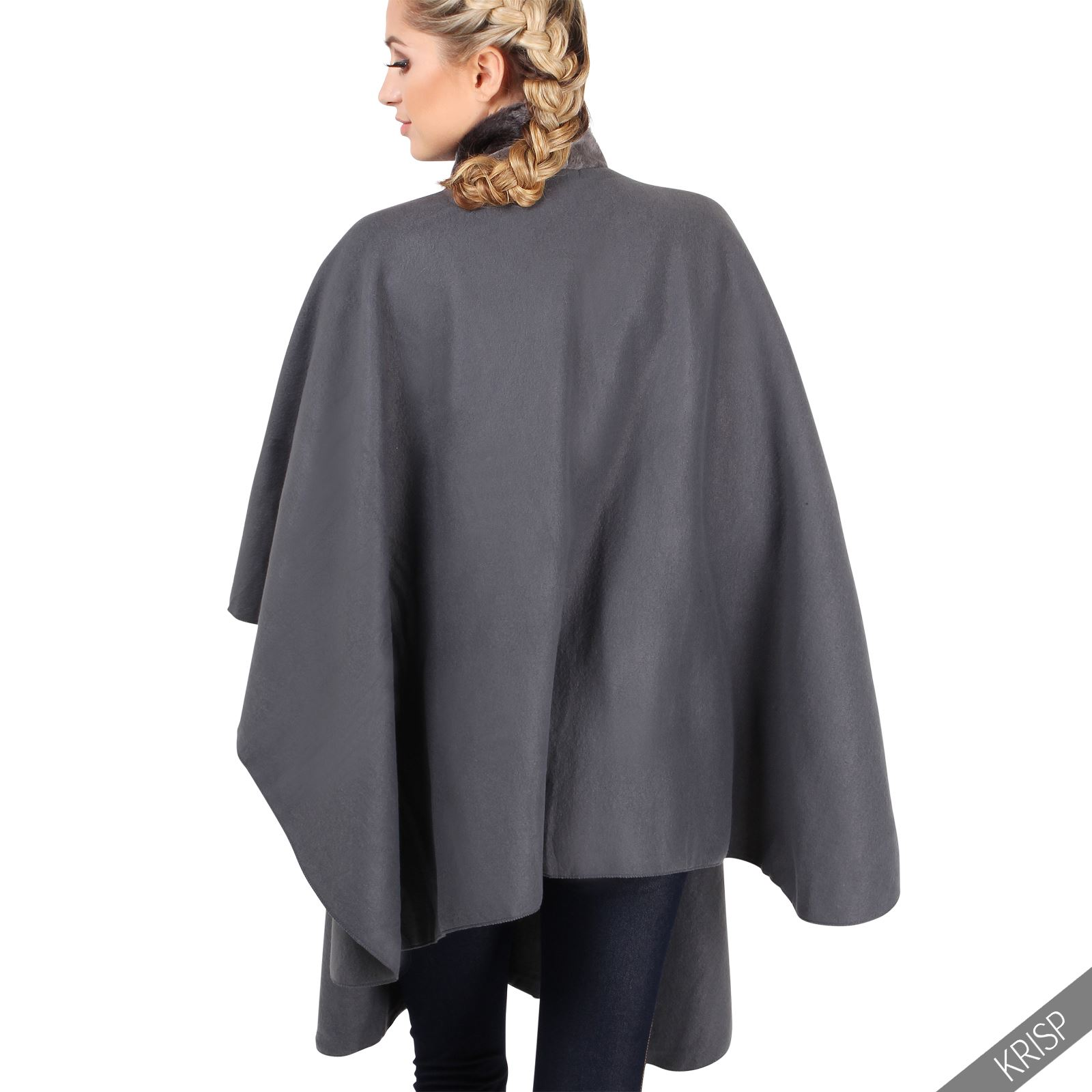 damen fleece poncho mit kunstpelz kragen cape mantel jacke. Black Bedroom Furniture Sets. Home Design Ideas