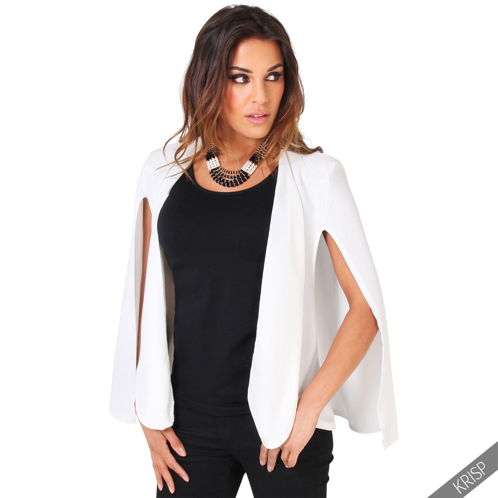 femme veste manches fendues design ouvert revers blazer uni mode nouveau ebay. Black Bedroom Furniture Sets. Home Design Ideas
