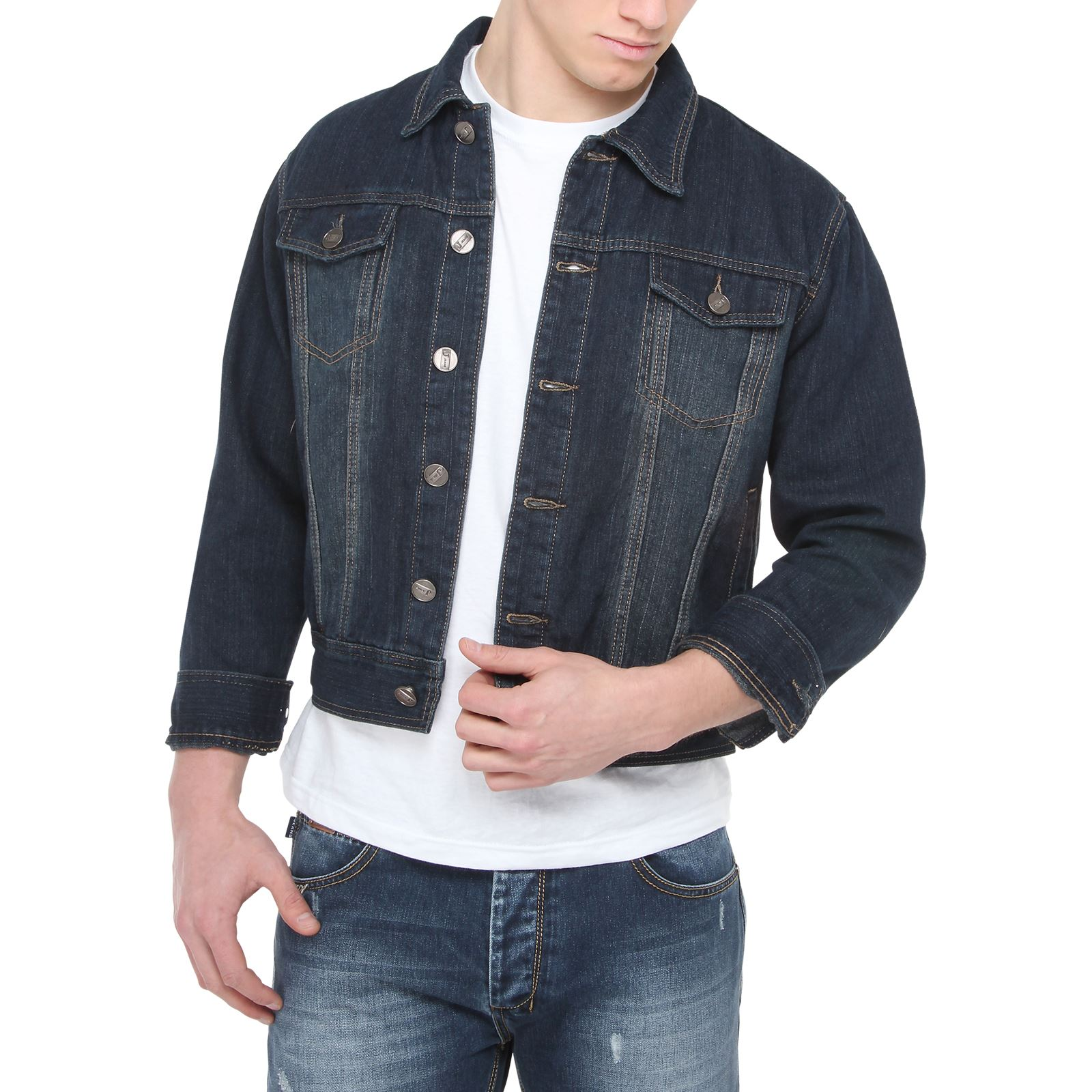 blouson veste homme vintage jean denim d lav coupe motard. Black Bedroom Furniture Sets. Home Design Ideas