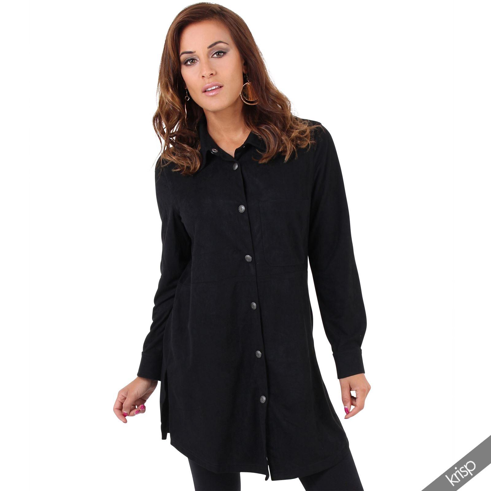 Womens boho suede loose cowboy western long shirt mini for Is a tunic a dress or a shirt
