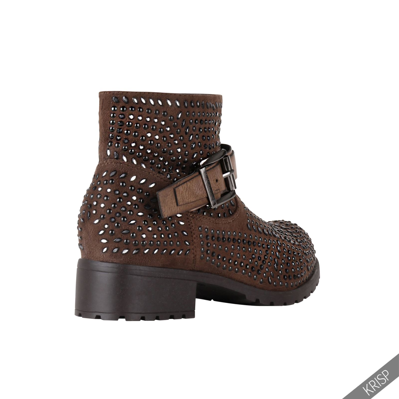 damen stiefeletten blockabsatz biker boots mit nieten. Black Bedroom Furniture Sets. Home Design Ideas
