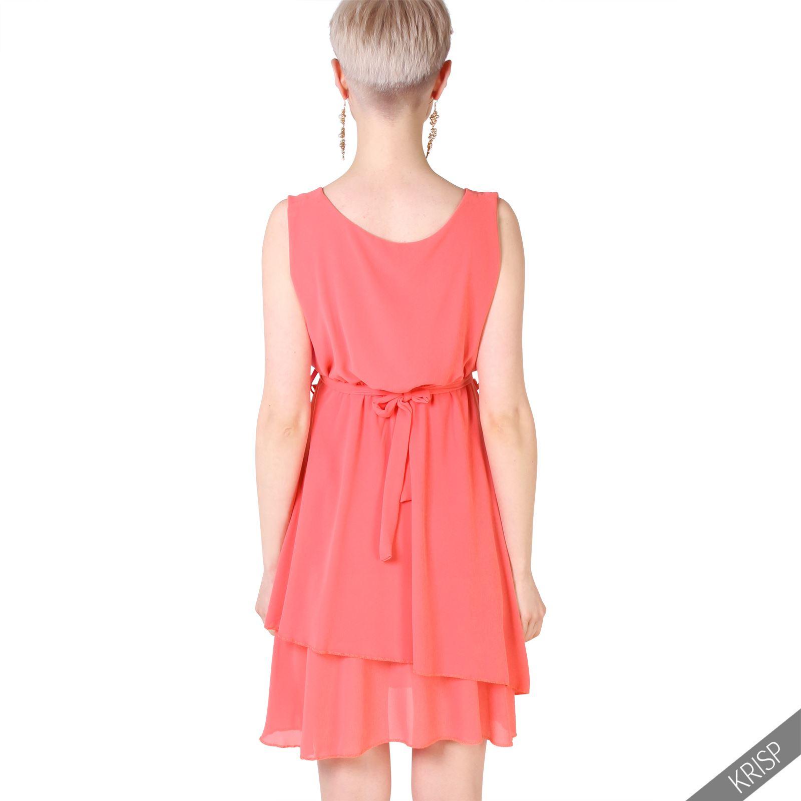 femme robe courte en mousseline jupe volant e ceinture printemps et ebay. Black Bedroom Furniture Sets. Home Design Ideas