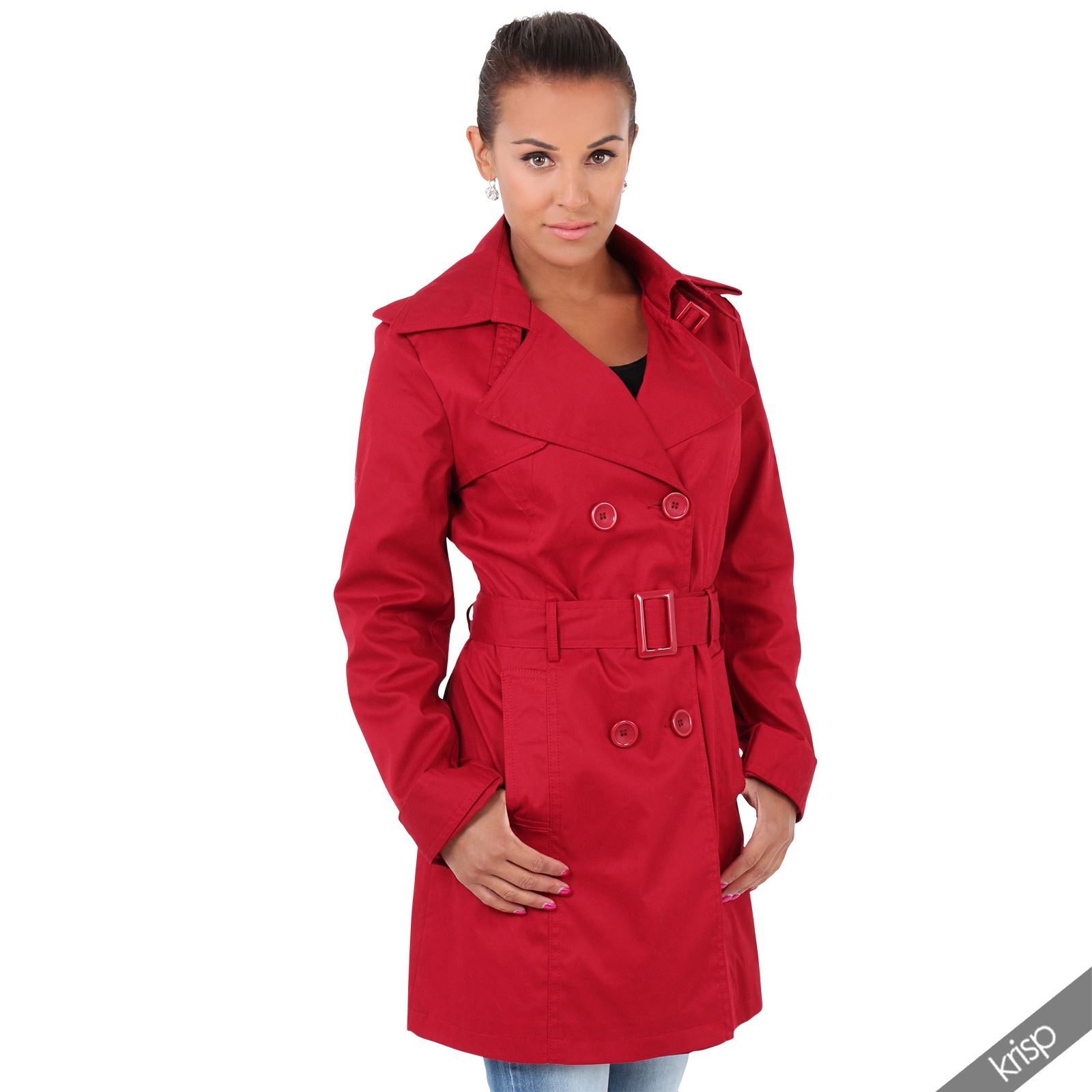 damen leichter trenchcoat mantel regenjacke kurzer sommermantel bergangsjacke ebay. Black Bedroom Furniture Sets. Home Design Ideas