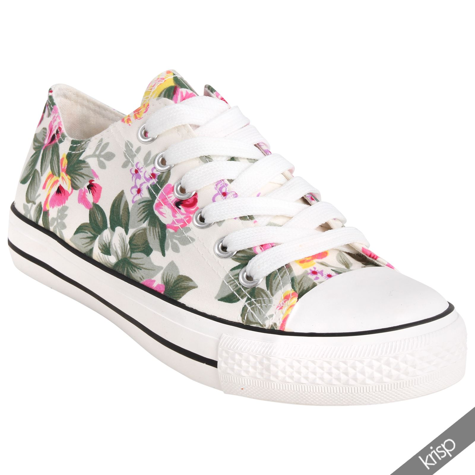 womens floral canvas low top trainers flatform shoes