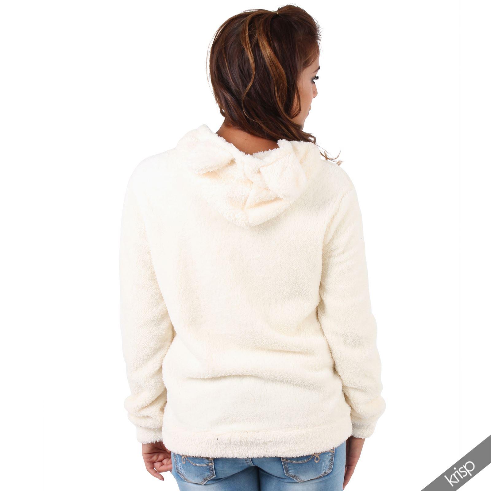 Womens Soft Fluffy Bear Hoodie Hoody Sweatshirt Top ...