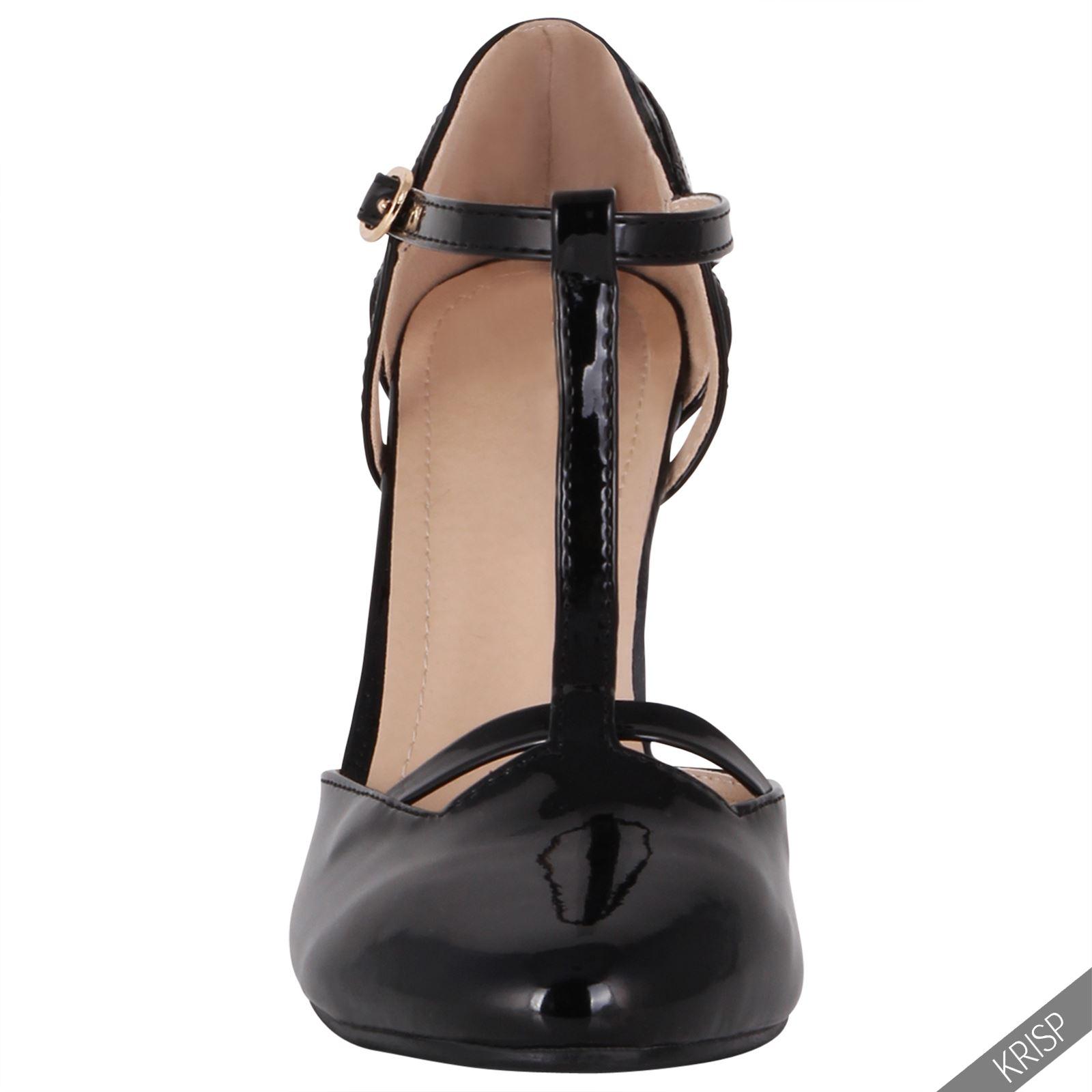 damen retro t riemchen pumps blockabsatz high heels lackschuhe absatzschuhe ebay. Black Bedroom Furniture Sets. Home Design Ideas