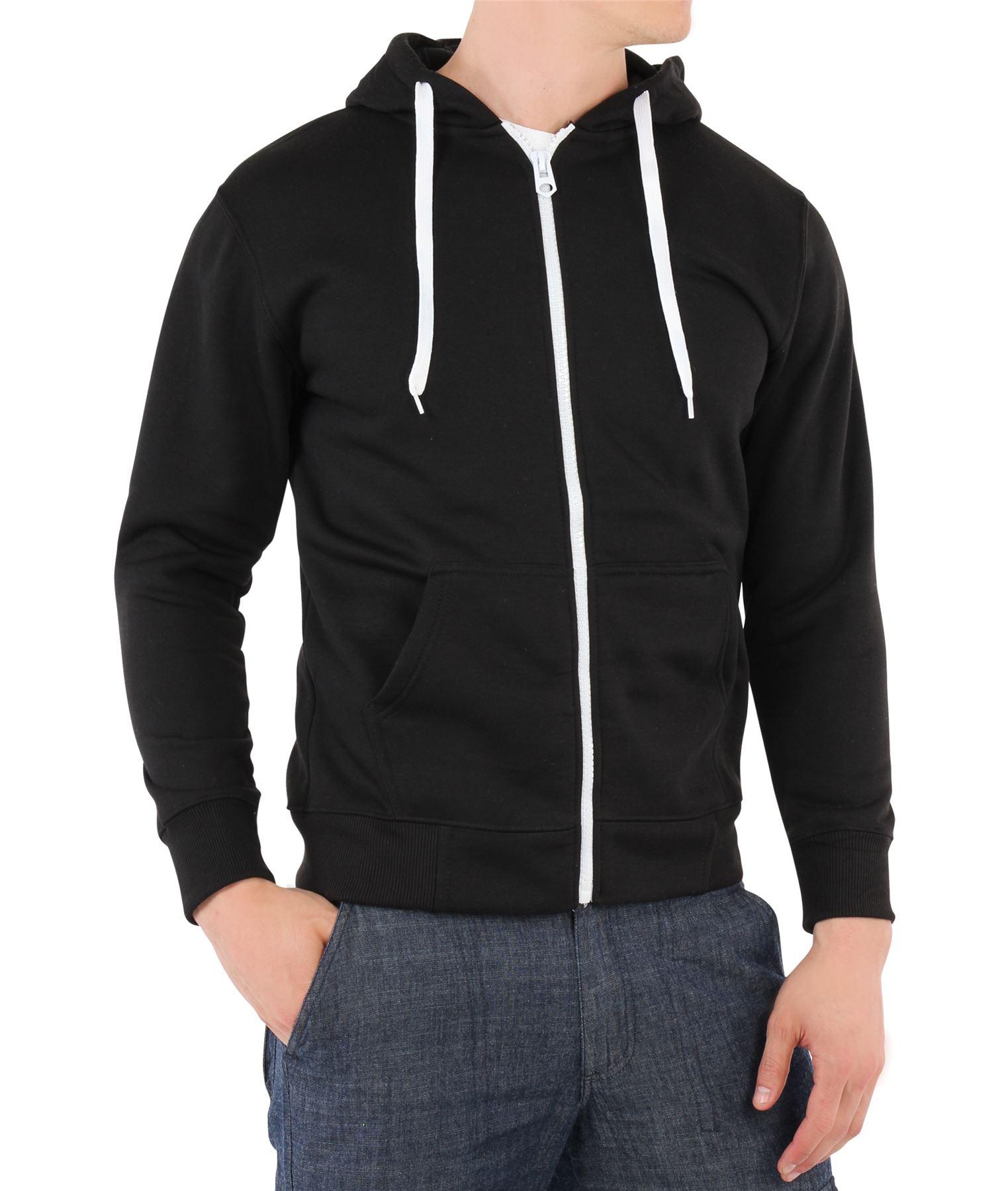 20f8f89446c8 Populaire Sweatshirt Pull Homme Uni Capuche Fermeture Éclair Sport WG35