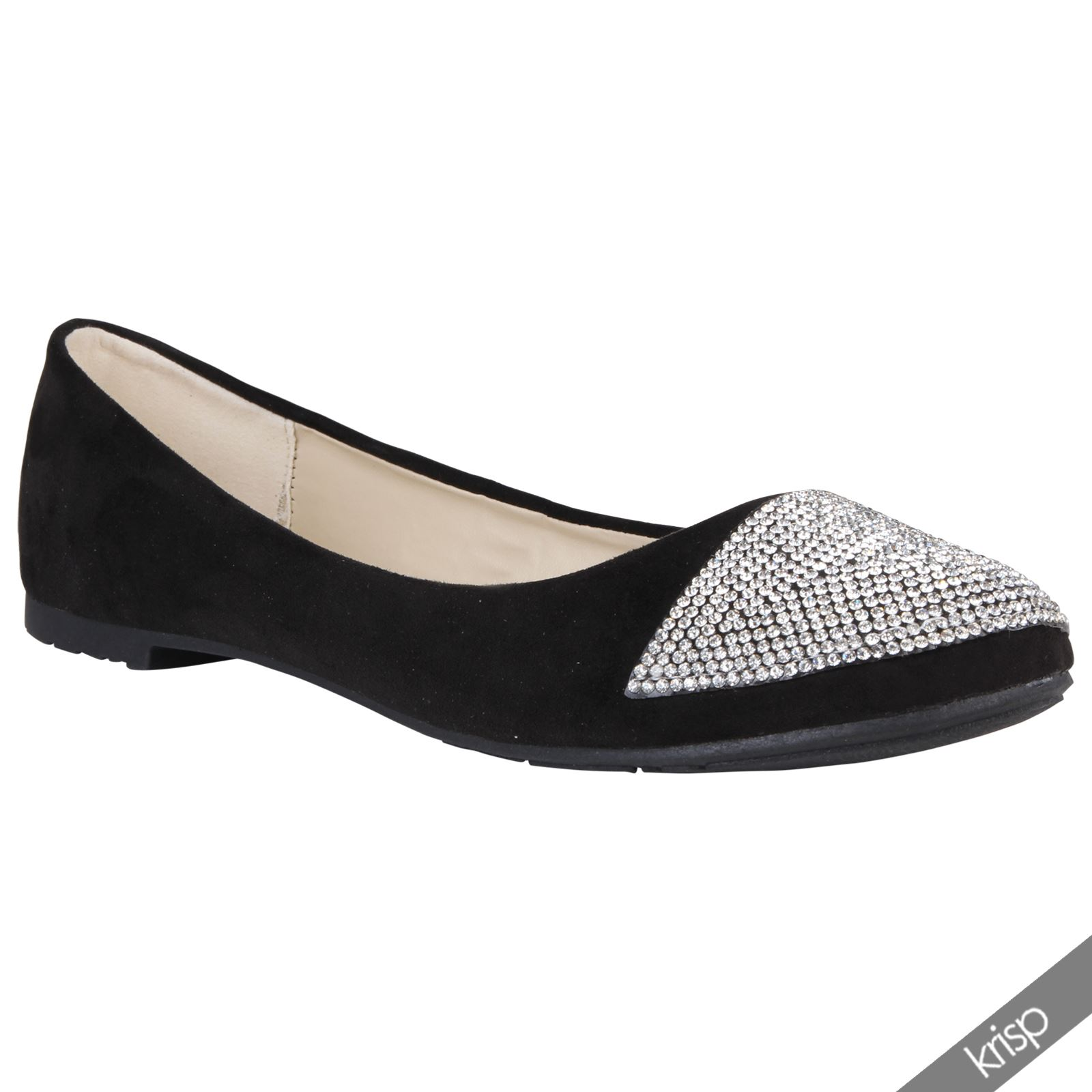 womens diamante toe suede ballerina flat heel dolly shoes