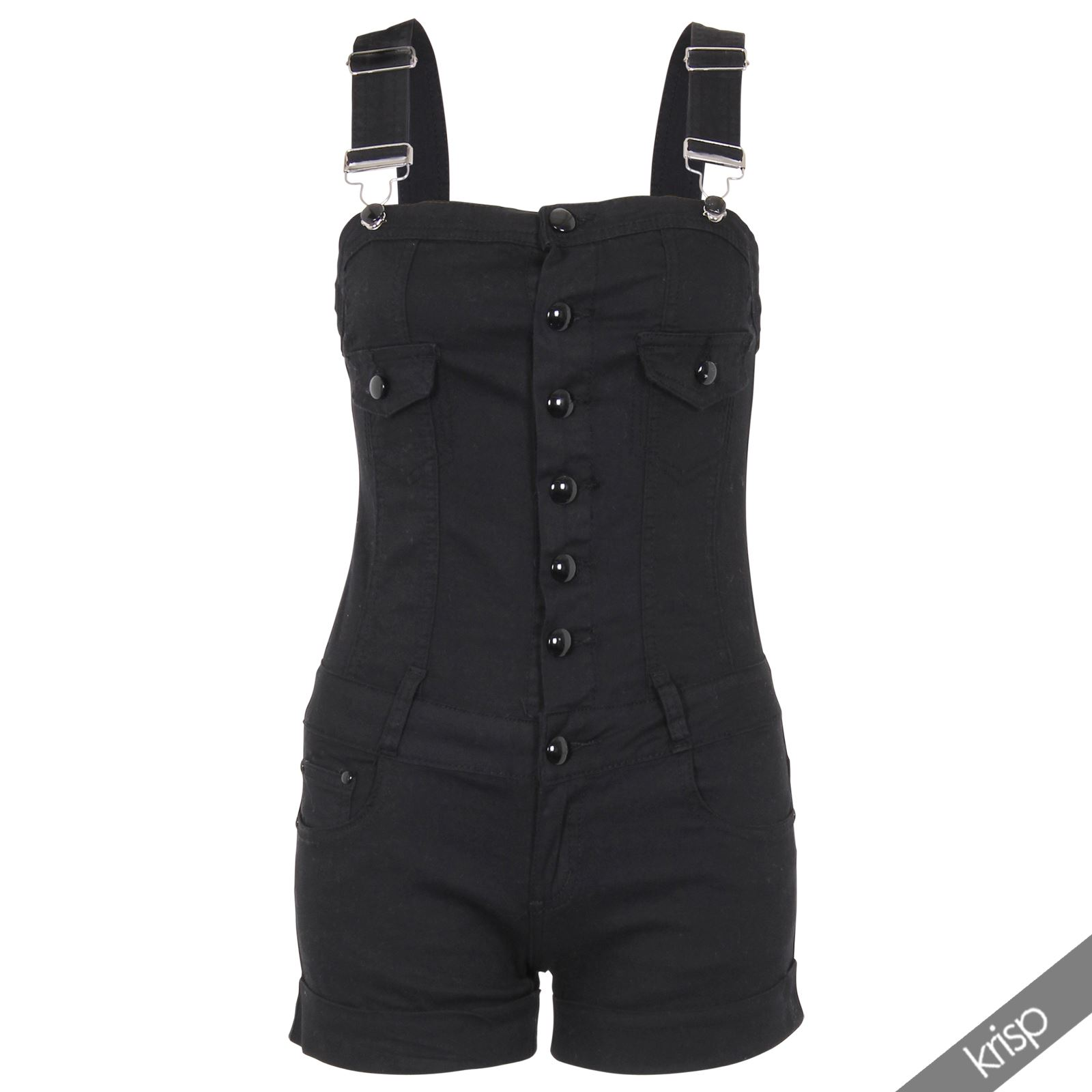 damen dungarees shorts kurze jeans latzhose einteiler playsuit slim stretch ebay. Black Bedroom Furniture Sets. Home Design Ideas