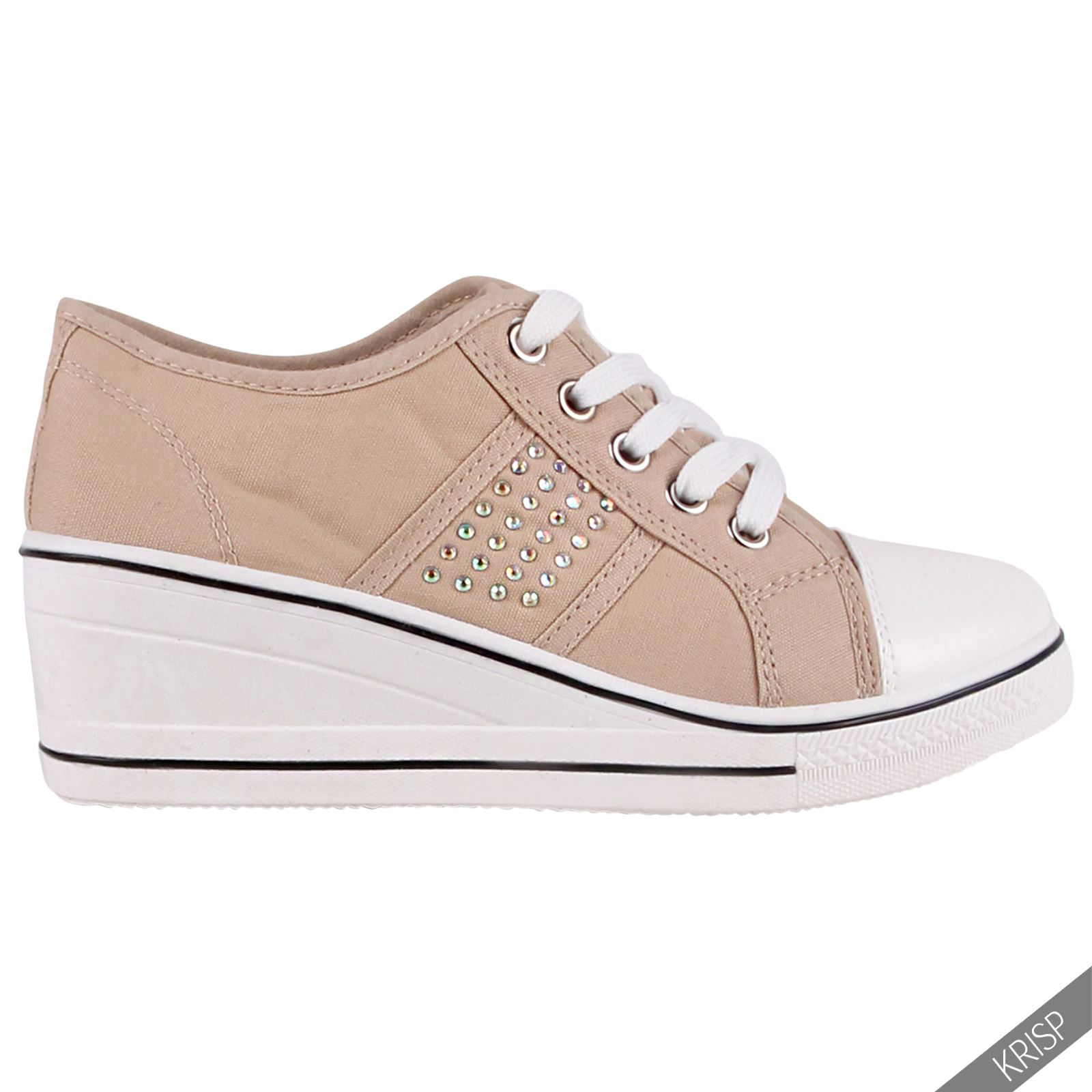 Ladies Low Wedge Slip On Canvas Shoes